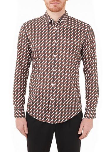 Hugo Boss  Slim Fit Desenli % 100 Pamuk Gömlek Erkek Gömlek 50451838 224 Bordo